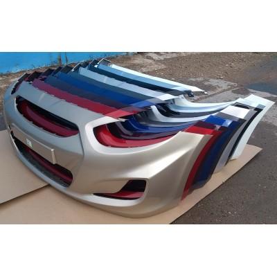 Бампер передний в цвет Hyundai Solaris белый PGU
