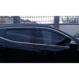 Дефлекторы для окон (c хром. молдингом) Hyundai Santa Fe IV 2018-2020.
