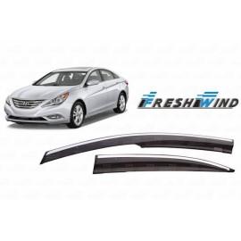 Дефлекторы для окон (c хром. молдингом) Hyundai Sonata VII 2014-2017.